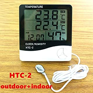 Anano Digital Thermometer and Hygrometer,Weather Station Digital LCD Temperature Humidity Meter, Indoor and Outdoor Room Thermometer Clock Hygrometer with Probe Sensor
