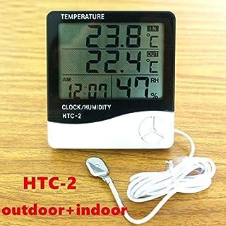 Anano Digitales Thermometer und Hygrometer, Wetterstation, Digitale LCD-Anzeige Temperatur, Luftfeuchtigkeitsmesser, Innen- und Außenbereich, Thermometer Uhr Hygrometer mit Sonden-Sensor