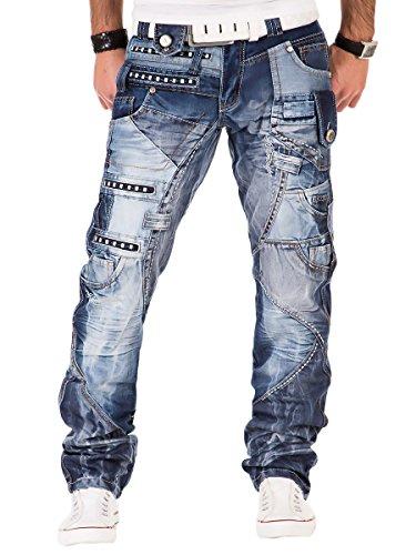 Kosmo Lupo K&M 001 Designer Herren Jeans Hose Clubwear Style Blau Verwaschen Multi Pocket W29-W38 / L32-L34, Größe:W38 / L34