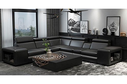 Tozzini Sunflower II Sofagarnitur in Schwarz aus Leder & Kunstleder, Couch für 5-6 Personen, inkl....