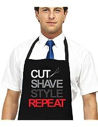 Para hombre afeitado impreso barberos delantal, corte estilo de repetición peluqueros delantal negro negro