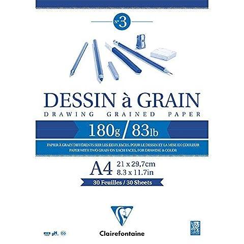 ClaireFontaine - Réf 96624C - Un Bloc Dessin à Grain Encollé A4 180 grammes 30 Feuilles Blanc vendu à l