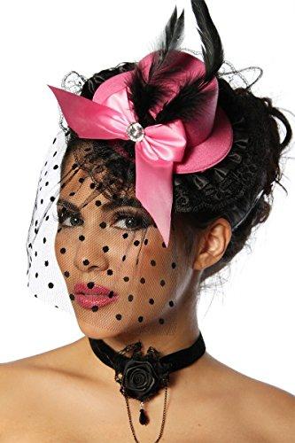 Burlesque Mini-Hut / Fascinator - rosa/schwarz