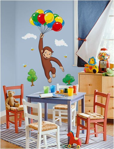 Image of RoomMates Children's Repositonable Wall Stickers, Curious George Giant