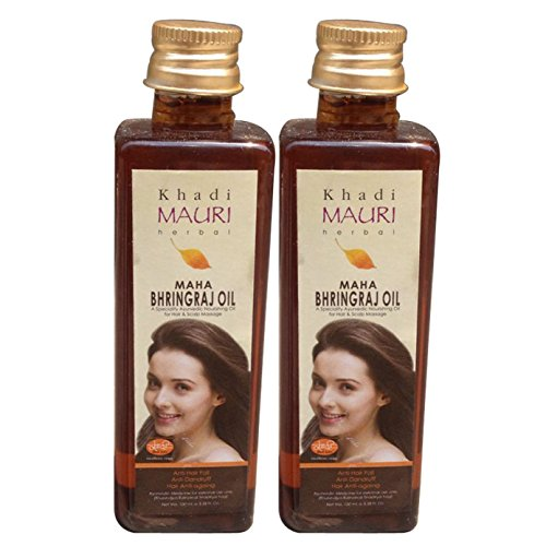 Khadi Maha Bhringraj Hair Oil - KING OF OILS - Anti Hairfall + Anti Dandruff - Ancient Ayurvedic Herbal Hair Oil - Pack of 2, 100 ml each
