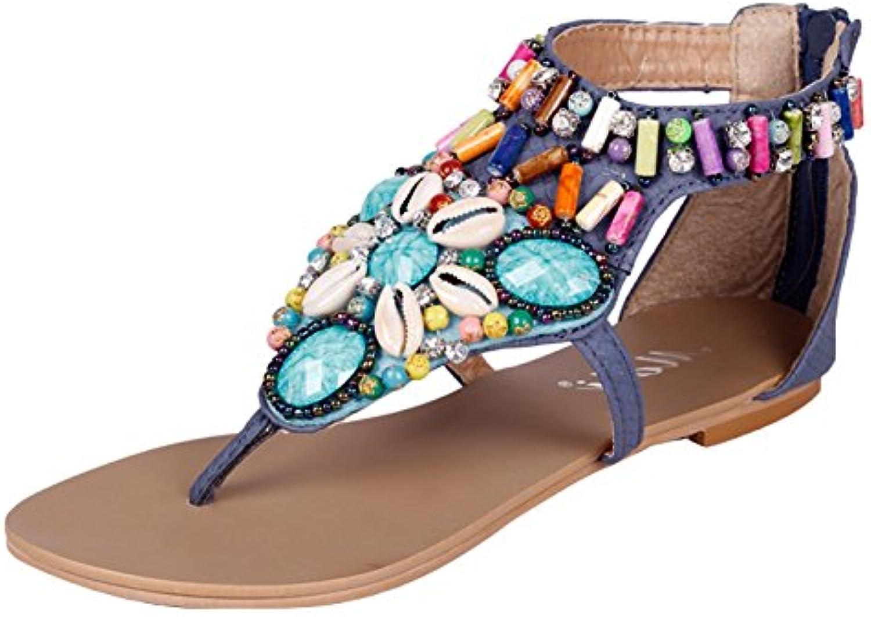 EOZY-Donna Boemia Sandali Vintage Perline Strass Flip Flop Infradito Piatti | New Style  | Scolaro/Signora Scarpa