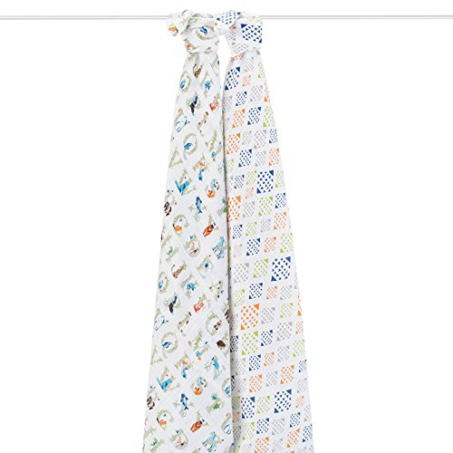 aden + anais 4034G Classic Swaddle Paper Tales, 2er pack