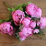 Jun7L künstlich, Seide, Blumen-Bouquet, Hochzeitsdekoration 47x10 cm Rosenrot