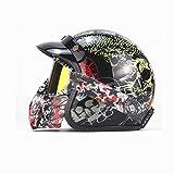 Evin Motorradhelm Retro, offener Maskenhelm Pilot Motorroller Motorrad Retro Helm inklusive Brille und Sonnenblende,Black,S