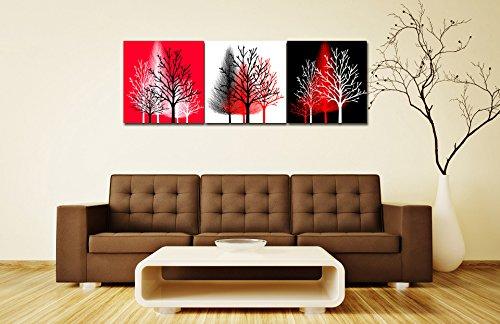 LB ein Satz von 3 Stück Ölgemälde Druck auf Leinwand-bunte Bäume des Lebens-abstrakte moderne Kunstwerke für Room Decor/Geschenke/Urlaub 40cm*40cm gestreckt und gerahmt (Baum, Haus, Eigentumswohnung)