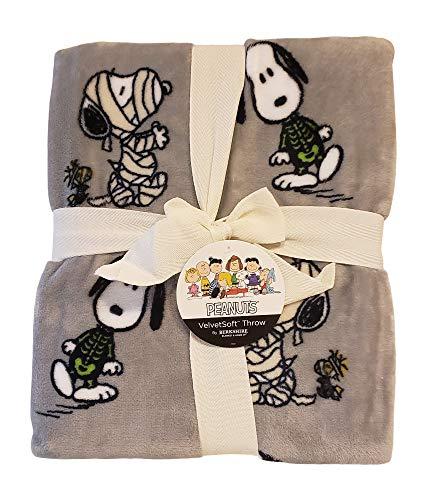 Berkshire Peanuts Überwurf, Samt, weich, 139,7 x 177,8 cm, Grau (Snoopy Figur Kostüm)