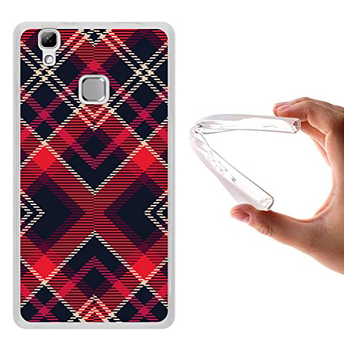 WoowCase Doogee X5 Max Hülle, Handyhülle Silikon für [ Doogee X5 Max ] Schottenkaro rotes Muster Handytasche Handy Cover Case Schutzhülle Flexible TPU - Transparent