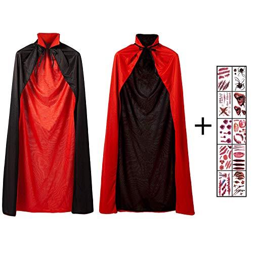Black Kostüm Robe Kind - Hook Umhang Schwarz Rot Vampir Teufel Kostüm Cape Zauberer Mit Tod Kultfaktor Hexe Umhang für Kinder or Erwachsene Halloween Kostüm Mantel Umhang 140cm, 10 Temporäre Tattoos