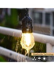 Alissne Kit de Luz de Cadena E27 Base 49 pies LED impermeable conectable de luces de cuerda 15 Bombilla de Filamento IP65 Prueba de Agua para la Fiesta de Cumpleaños Función de la Boda Open Bar Parque de Navidad Granja Lugares de Entretenimiento