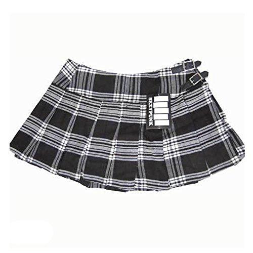 sexypunk–Rides Rock short Écossais Kilt noir et blanc Tartan Punk Rock Schwarz Weiß Tartan