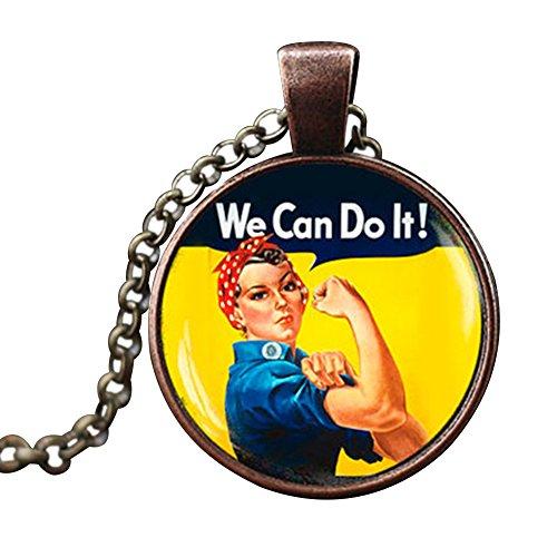 Gudeke feministas símbolo colgante collar de los derechos de la mujer tiempo Gem cristal joyería