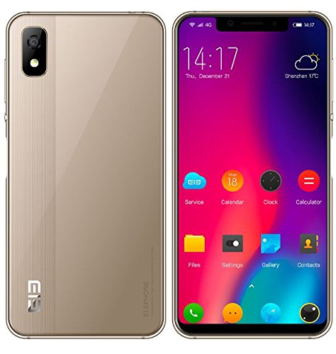 Elephone A4 – 5.85 Inch HD + 19: 9 Notch Screen Android 8.1 4G Smartphone – MT6739 Quad-Core 1.5 GHz 3GB + 16GB 5MP + 13MP Dual Camera, 3000 mAh Battery – Gold