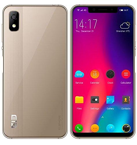 Elephone A4 - 5,85 Zoll HD + (19: 9 Kerbenbildschirm) Android 8.1 4G Smartphone, MT6739 Quad Kern 1.5GHz 3GB + 16GB, 5MP + 13MP Dual-Kamera, 3000mAh Batterie Seitlicher Fingerabdrucksfühler - Gold Gsm Quad-band-flash
