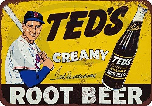 qidushop Ted Williams for Ted's Root Beer Creamy Reproduktion Dekorative Metallschilder für Frauen Wand Post Blechschild Geschenk 20 x 30 cm