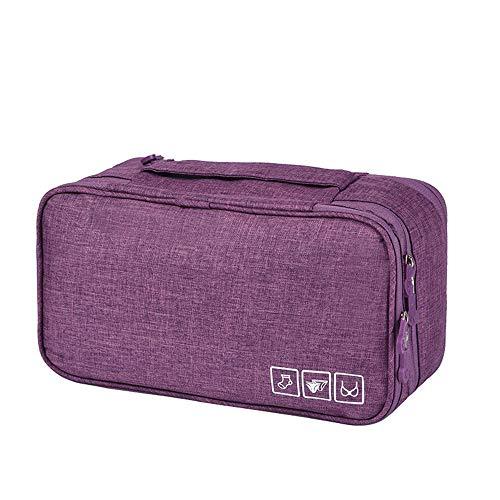 YUEBAOBEI Verpackung BH Unterwäsche Aufbewahrungstasche, Reise Dessous Tasche Handtasche, Gepäck Aufbewahrungskoffer Für, Großes Fach Leichte 4-lagige Kosmetiktasche,Lila -