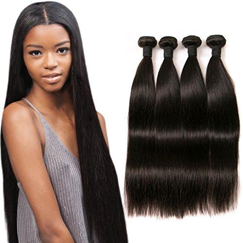 Straight Natural Hair Extension Brazilian Hair Weave 4 Bundles 9a Virgin Human...