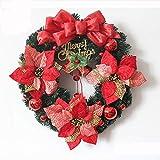 TBSLee Bunte Bälle und Simulation Blumen Weihnachtskranz Künstliche Luxus Weihnachten Kränze Girlanden Tür Wand Weihnachtsdekoration Handwerk Blumen Im Freien/Innen 40 cm / 50 cm / 60 cm,Red,40cm