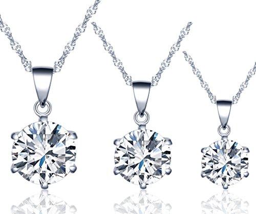 Unendlich U Fashion Damen Halskette 925 Sterling Silber sechs Klaue Zirkonia Anhänger Kette mit Anhänger, Silber, 3 Stücke (Silber Stück Halskette Sterling)