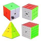 MZStech Cyclone Boys Cubo mágico Set 4 Pack 2x2x2 3x3x3 5x5x5 Pyraminx Cubo sin etiqueta Color verdadero