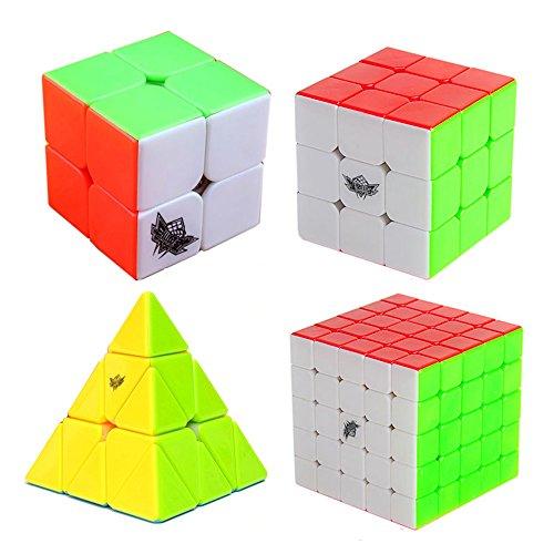 MZStech Cyclone Boys Zauberwürfel Set 4 Pack 2x2x2 3x3x3 5x5x5 Pyraminx Stickerless Würfel True Color (Cyclone Boys 3x3x3)