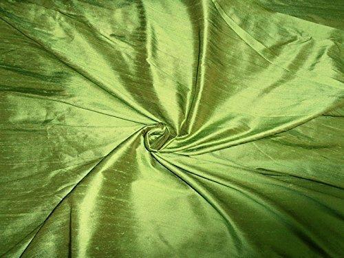 100% Pure Seide Dupionseide Stoff Gras Grün 137,2cm mit Teppich in grober Weboptik Fashion, Stoff, Seide -