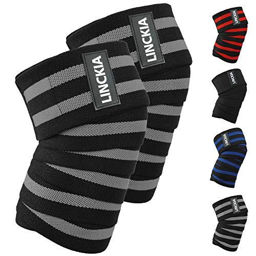 LINCKIA Kniebandage Knee Wraps Knieschoner Knieschützer - 200cm Profi Bandage Knie Elastische 85{0353ce7b4fc0693efdfc958bd4f363f3e7b8f26f5874b94b269e61e3499d2901} natürliche Baumwolle verstellbare Kompression für Fitness, Powerlifting, Crossfit, Bodybuilding