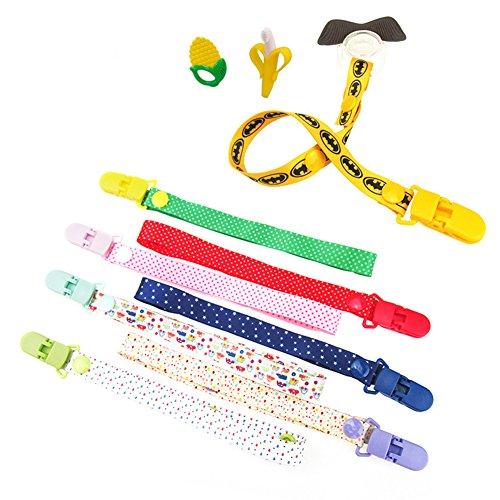 Baby Schnuller Halter Gurt, Kinderwagenhaken, Flaschengurt, Baumwolle Anti-Drop-Spielzeug verstellbarer Gurt, 8 Stück, für Kinderwagen/Autositz/Hochstuhl (8 Colors)