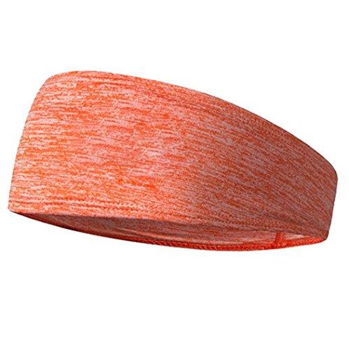 Y56 Elastisches Kopfband Hair Head Band Schweißband Stirnband Haarband Stretch Mens Wrap Elastic Sport Männer Dünne Gym (Orange)