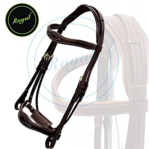 Royal Wave Dressage Bridle with Punch and Loop Stylish Head Piece & PP Rubber Grip Reins./ Vegetable Tanned Leather./ Brass