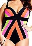 erdbeerloft - Damen Gestreifter Plus Size Bikini, XL, Mehrfarbig