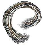 Natuce 100PCS 2mm Collar de algodón encerado, Waxed cadena cera cordón collar langosta Cuerda de Cuero con Cadena de Extensión y Cierre de Langosta para joyería que hace (A)