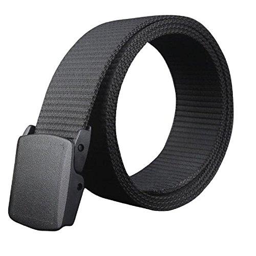 Cintura Uomo,WINWINTOM Cintura Di Tela Regolabile Con Fibbia Automatica Ipoallergenico Metallo (nero)