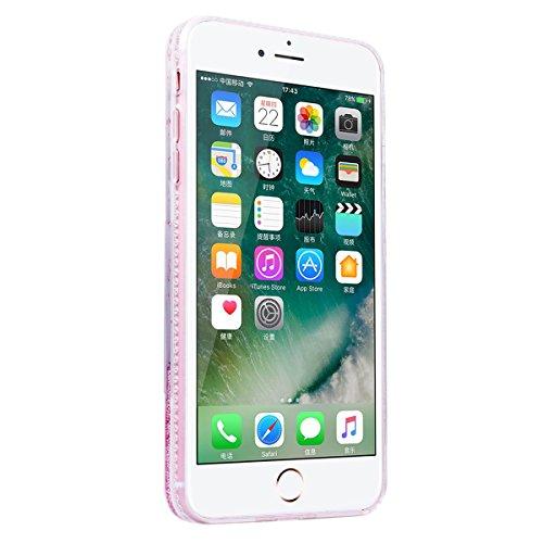 """WE LOVE CASE iPhone 7 Plus Hülle Glitzern Trasparent Diamant Flüssig Quicksand Liebe Perle Weicher Rand iPhone 7 Plus 5,5"""" Hülle Rosa Schutzhülle Handyhülle Handytasche Handycover PC Harte Case Anti-S girl boss"""