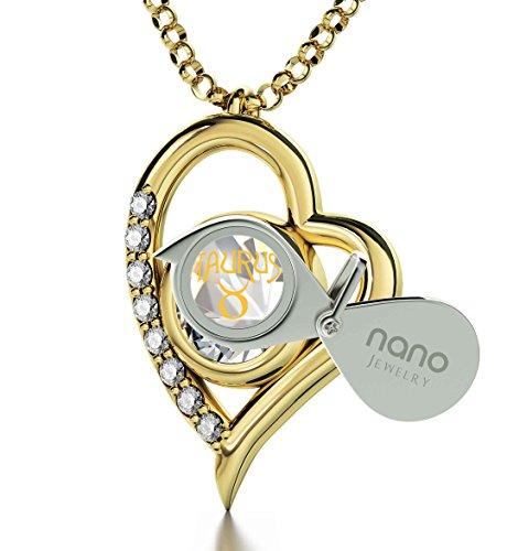 Pendentif Coeur Signe du Zodiaque Plaqué Or - Collier Taureau avec Inscription en Or 24ct sur un Cristal Swarovski, 45cm - Bijoux Nano Cristal