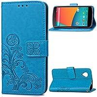 Nexus 5 Funda, SATURCASE Lucky Clover Cuero De La PU Magnético Capirotazo Billetera Apoyo Bumper Protector Funda Carcasa Case Para Google LG Nexus 5 Azul
