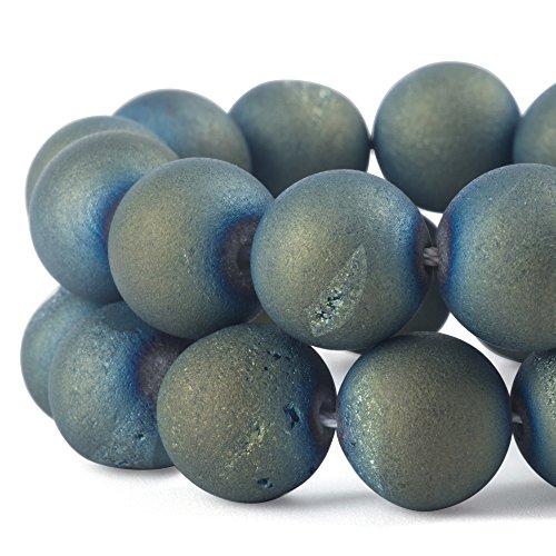 rubyca rund gefärbt galvanisch Druzy Achat Quarz Kristall Edelstein Perlen, Metallic Light Blue, 6 (Ice Black Hair Spray)
