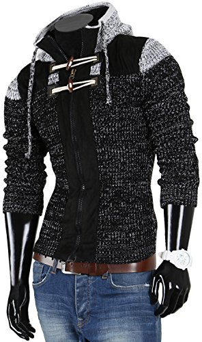 VAN HILL Herren Pullover Strickjacke Grobstrick Kapuzenpullover Zipper Rollkragenpullover Winter Größe S - XXL Schwarz