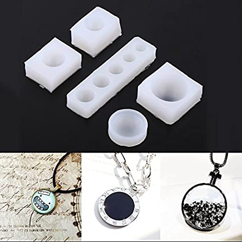 Yalulu 5Pcs Creative DIY Half Round Cabochon Silicone Mold Jewelry Necklace Resin Casting Pendant Mould Decoration For Epoxy Resin Jewelry Making Mould