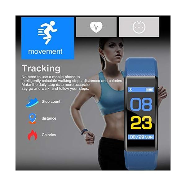 Fitness Tracker, reloj de seguimiento de actividad con monitor de frecuencia cardíaca, IP67 a prueba de agua con contador de pasos, contador de calorías, reloj de podómetro para niños y mujeres 2