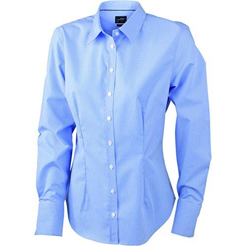 JAMES & NICHOLSON - chemise - chemisier manches longues petit carreaux - repassage facile - JN612 - Femme blanc - bleu clair