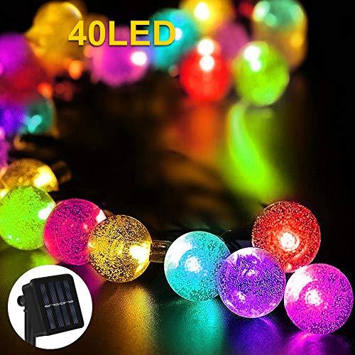 Nasharia Solar Lichterkette Außen, Lichterkette Kristall Kugel 40er LED 8 Modi IP65 Wasserdicht mit Lichtsensor Beleuchtung für Garten, Bäume, Terrasse, Hochzeiten, Partys