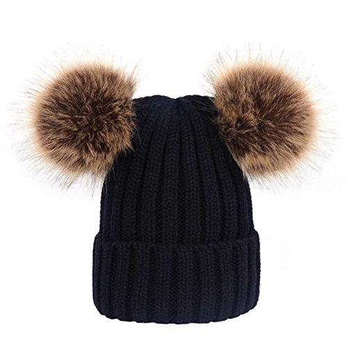 OULII Strickmütze mit Fellbommeln süße Katzenohren Mütze Winter warm Bommelmütze für Frauen Mädchen (Schwarz)