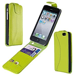 Austin Luxury Real Leather Flip Case & Card Holder for iPhone 5 5S in Hot Green