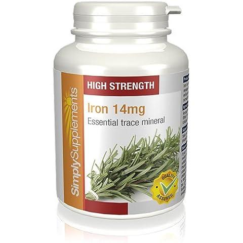 Fer (Iron) 14mg 120 Comprimés | Favorise les niveaux d'énergie et le système immunitaire | Végétarien | Fabriqué au