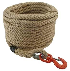 Viso CCP301SB Corde de levage en chanvre avec poulie/cosse/crochet émerillon